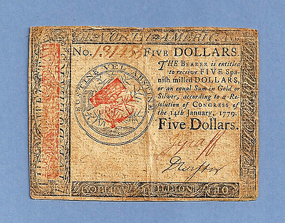 1779 $ 5 Continental Currency Pleasing Extra Fine Grade Note