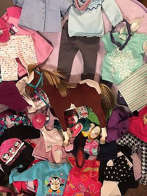 47 Piece Lot Of American Girl Doll and Other Brand, Accessories and Paint Filly.