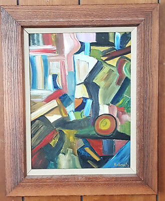 Eastern European Framed Abstract Oil Painting on Canvas. Signed. Robost-67.