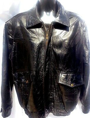 Men Napoline Leather Outfitters Genuine Leather Jacket Black Large L Full Zipper