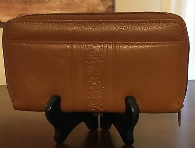 Vintage Amity Brown Leather Clutch Wallet New Embossed and Pebbled Zip Around