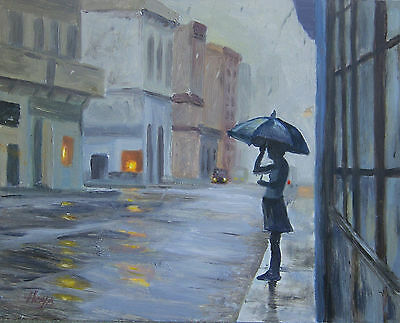 Hays Signed Art Impressionist Oil Painting Cityscape Silouette Woman In Rain