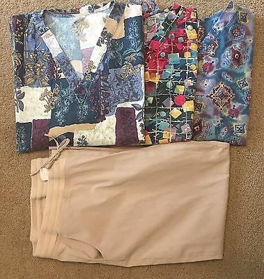 Scrubs- 3 Tops & 1 Pair Of Pants Euc Size Xxl