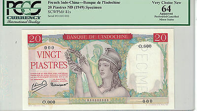 French Indochina - Specimen 20 Piastres 1949 Pcgs-64 ( #686 )