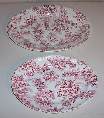 "2 VTG TAYLOR SMITH TAYLOR USA 11 & 13 ½"" Platter Dogwood TransferWare China Red"