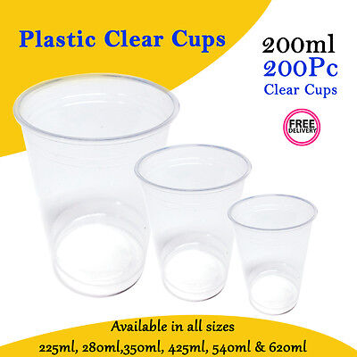 Disposable Plastic Cups Clear Reusable Drinking Water Beer Cups 200ml 200/Pc