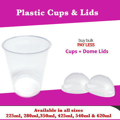 Disposable Plastic Clear 100 Cups + 100 Dome Lids Party Water Cups Reusable