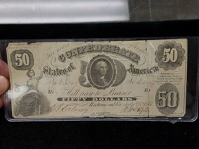 1861 Confederate $50 Banknote July 25th with George Washington