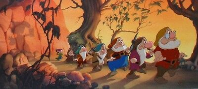 Disney Snow White and the Seven Dwarfs Cel HEIGH HO Rare Signed Number 1 cell