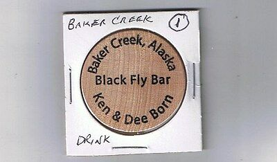 Alaska Wooden Nickel Token - BAKER CREEK - Black Fly Bar