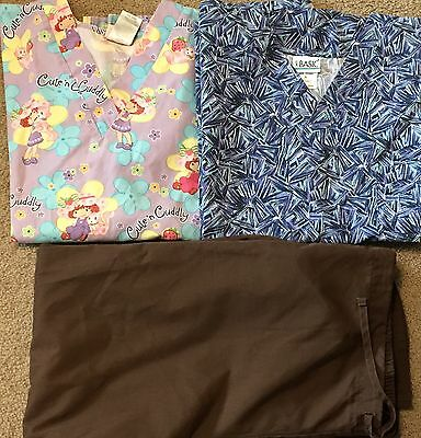 Scrubs- 2 Tops & 1 Pair Of Pants Euc Size Large