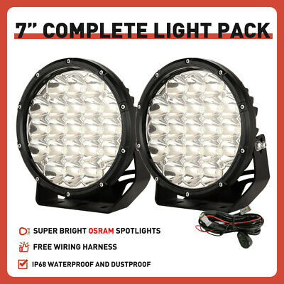 Pair 7inch 98000W Round Black CREE LED Driving Light Work Spot SUV Offroad 4x4