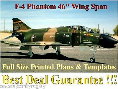 """F4 Phantom 46"""" WS Giant Scale RC Airplane Full Size PRINTED Plans & Templates"""