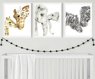 Set of Three Mother and Baby Animal Print Set nursery prints elephant giraffe