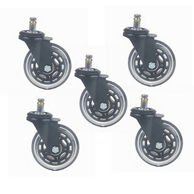 """5pcs 3"""" Office Chair Rollerblade Style Soft Wheel Casters Ball Bearing Axle"""
