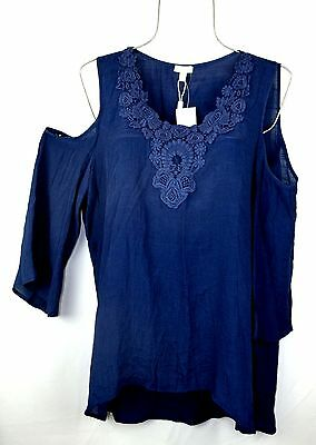 Spense Womens XL Blue Top Lace Embroidered Cold Shoulder Blouse Boho Shirt NEW