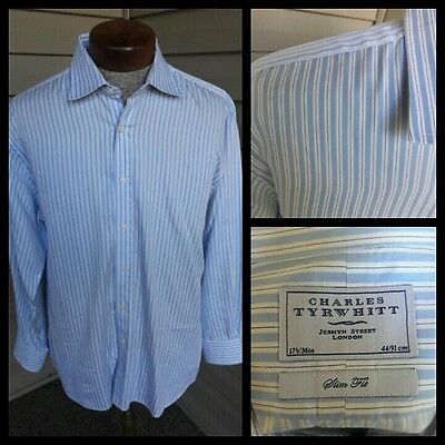 Charles Tyrwhitt Slim Fit Blue Shirt Spread Collar 17.5 33 34 35 Button Front