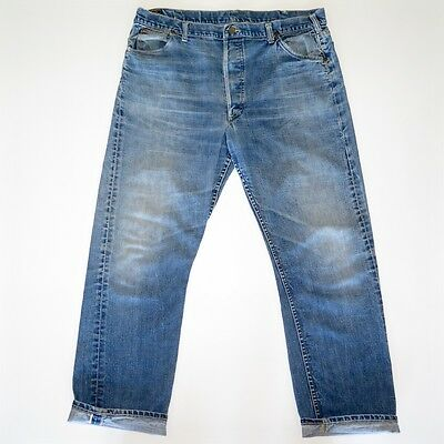 VINTAGE ORIGINAL LEE RIDERS DENIM JEANS 101B 1950s SELVEDGE 40X31 LEATHER PATCH