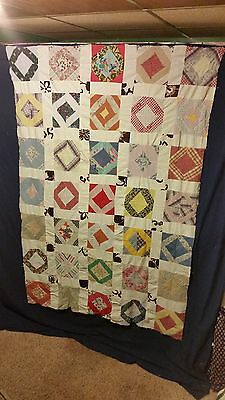 "Vintage Hand Sewn Patchwork Quilt Top approx. 59"" by 81""  Blocks Squares"