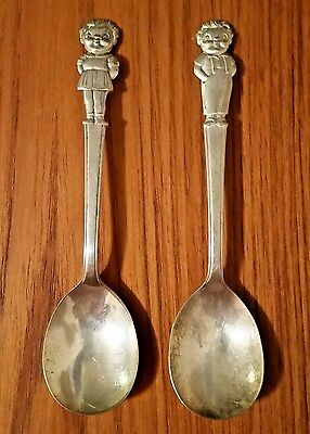 Cute, Vintage 1940's IS Silver Plate Campbell's Kids Soup Spoons Girl & Boy Set