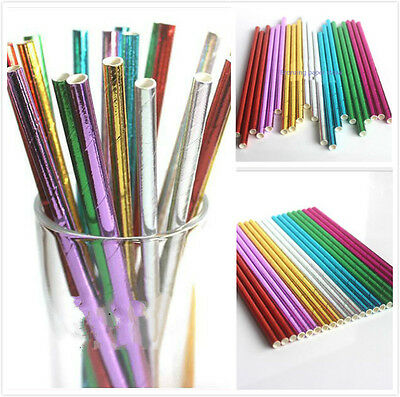 25Pcs Gold Gilded Paper Retro Vintage Party Drinking Straws Birthday Wedding Par