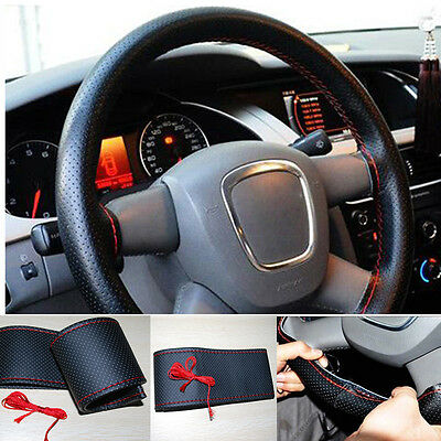 Car Truck Leather Steering Wheel Cover With Needles Red Thread Black DIY
