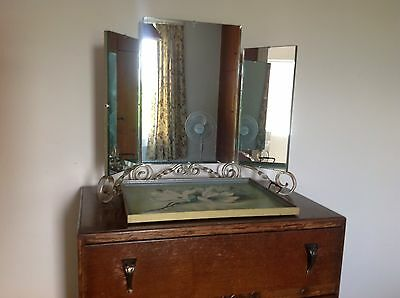 Antique 3 Fold Dressing Table Mirror With Clear Barley Twist Decoration