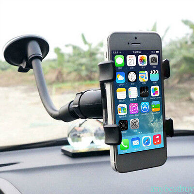 1pc Black 360° Degree Car Phone Holder Windshield Mount Bracket for iPhone GPS