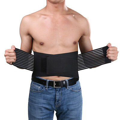 Popular Pull Lower Back Support Brace Lumbar Waist Belt Breathable Band Black