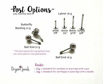 Labret cartilage earrings flat backs 316L stainless steel Origami Jewels posts