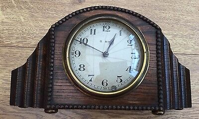 Antique French 8 Day Oak Mantel Clock (1428)