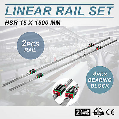 15-1500mm 2x Linear Guideway Rail 4x Square Type Bearing Block WIDELY TRUSTED