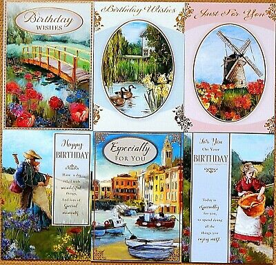6 Pack Of Assorted Male Mens Female Ladies Boys Girls Fine Art Birthday Cards F