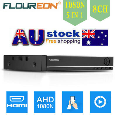 FLOUREON 8CH 1080P DVR 5 IN 1 AHD Video Record CCTV Surveillance Security System