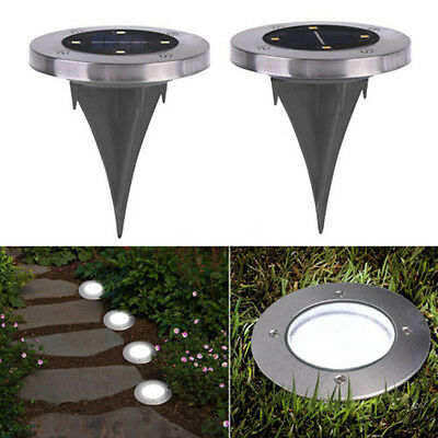 4 X Solar Powered LED Buried Inground Recessed Light Garden Outdoor Deck Path