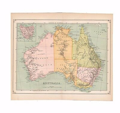 Antique color map of Australia from the 1875 American Cyclopædia