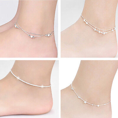 925 Sterling Silver Chain Anklet Bracelet Barefoot Ankle Foot Jewelry Sandal Hot
