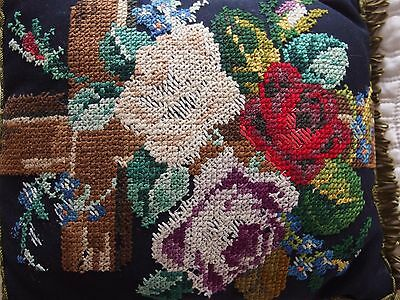 Antique Edwardian Hand Stitched completed work tapestry cushion