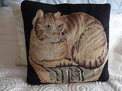 Vintage Hand Stitched completed work tapestry cushion Cat