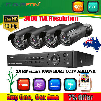 FLOUREON 1080P 8CH DVR AHD 3000TVL Home Security Camera CCTV Surveillance System