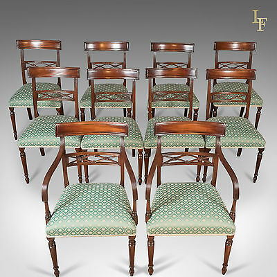 Set of 10 Dining Chairs in the English Regency Taste, Mahogany Late 20th Century