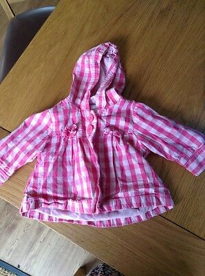 Girls Next 3-6mths Pink Checked Lightweight Hooded Jacket