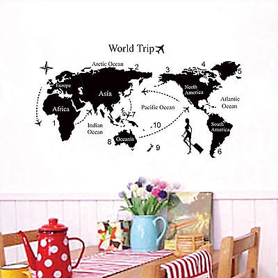 Room Wall Sticker DIY World Map Removable PVC Vinyl Art Decal Mural Home Decor