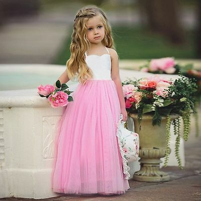 Flower Girl Princess Dress Kids Baby Party Wedding Pageant Formal Dress Clothes