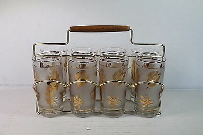 VTG Mid Century Set 8 Libbey Drinking Glasses Carrier Caddy Frosted Gold Leaves