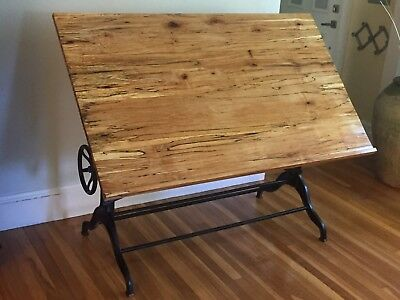 Vtg Drafting Table, Spalted Maple, Antique Rustic Desk, Industrial, Architect