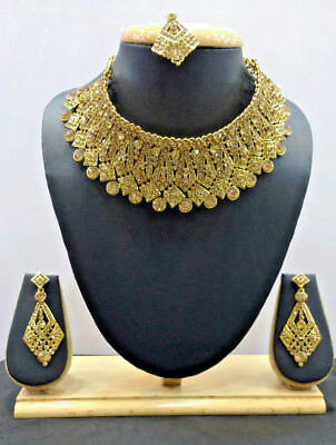 Indian Fashion Jewelry Ethnic Bollywood Necklace Gold Bridal Traditional Set H 5