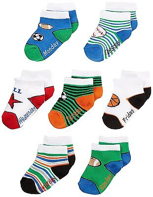Nuby Baby Boy Infant 7-Pack Super Soft Socks, Day of the Week, 6-18 Months,