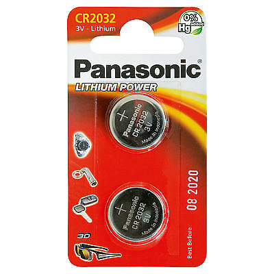 Pack Of 2 Panasonic CR2032 Lithium Coin Cell 3V Battery Car Key Toys Remote