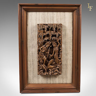 Framed Balinese Carved Wall Panel, Mid-Century Decorative Art, Pierced Carving